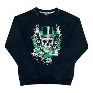 Boys Skull Print Sweatshirt Black Rock Out Crew Neck Jumper Size M / Age 8-10