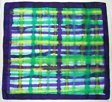 Artisan HANDPAINTED Rolled STRIPED Geometric Purple Green Blue Pure Silk SCARF