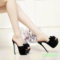 Sexy Super High heel Nightclub Peep toe bowknot Ladies sandal shoes slipper SZ