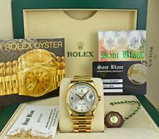 ROLEX REHAUT Mens 18kt Gold DayDate President Silver Diamond 118238 SANT BLANC