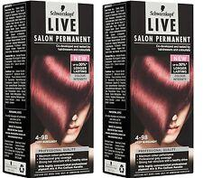 2 x Schwarzkopf Live Salon Permanent Colour - 4-98 Deep Burgundy 100% Brand New