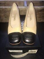 Authentic CHANEL Black  & Beige pumps CC toe shoes heels, size 38