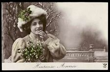 Edwardian 1910s old Vintage photo postcard lady furr hat coat winter new year
