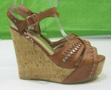 "New Ladies Tan/Brown 5""High Wedge Heel 1.5""Sexy Open Toe Ankle Straps Size 7"