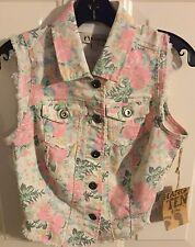 Hang Ten women's Small pink green white floral distressed sleeveless denim vest