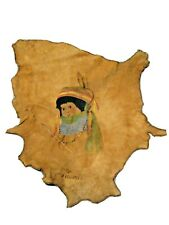 Vintage Native American Indian Painting on Leather Animal Hide Signed Neomi