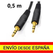 Cable MINI JACK Doble Macho ORO 0,5 m. Alargador Audio Conector Dorado a2340