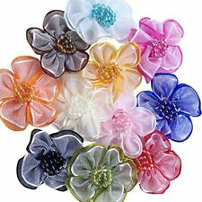 40pcs Organza Ribbon Flowers With Beads Appliques (Mix)