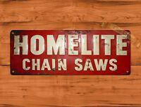 "TIN-UPS TIN SIGN ""Homelite Old"" Garage Chainsaw Rustic Wall Decor"