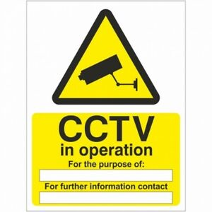 CCTV in Operation For The Purpose of Sign 150mm x 200mm - Self Adhesive