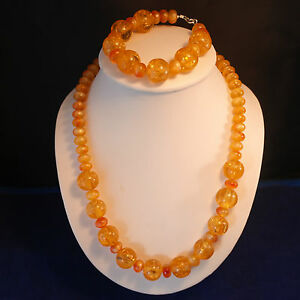 Beautiful Set With Yellow Resin Necklace And Bracelet Silver Hooks And Clasps