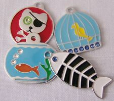 Pet/Dog/Cat ID Tag - Pirate, Fish, Bird w/ BLING Cat sized charm ENGRAVED