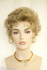 Light Golden Brown Tipped with Light Pale Blonde Red Short Wavy Curly Wigs