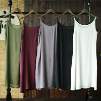 Full Slip Strappy Cotton Under Dress Vest Casual Petticoat Chemise Nightie White