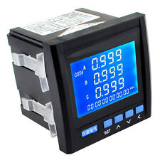 3-Phase Multifunction Digital Volt Power Meter Energy Accumulation RS485 Black