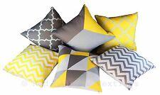 Colección de 6 Diseños Amarillo y Gris Lino geométrica 18 pulgadas Cushion Covers