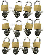 12pc 20mm Brass Padlock 2 Keys Luggage Heavy Duty Garage Shed Gate Suitcase