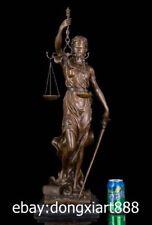 39 CM Western Art Deco Bronze Greek mythology Women Soldier Astraea Sculpture