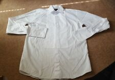 "Marks & Spencer Cotton White Evening Dress Waffle Bib Shirt 15"" Extra Long"