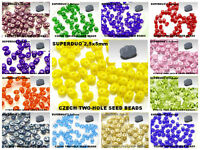 CHOOSE COLOR! 20g 2.5x5mm 2-hole SuperDuo Seed Beads Czech Glass