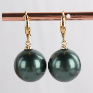 16MM Peacock blue Shell pearl Earring Dangle Ms gift Cultured Mesmerizing Gift