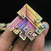Top! Rare Rainbow Titanium Coated Bismuth Gemstone Mineral Rock Crystal Specimen