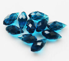 NEW 6x12mm/10pcs Faceted Glass Crystal Teardrop Charm Crafts Blue Beads