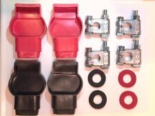 2 SETS Military Battery Terminals & Boots + PREVENTATIVE PROTECTOR WASHERS RINGS