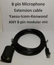 MICROPHONE EXTENSION CABLE 8 PIN RJ45 MOTOROLA YAESU ICOM KENWOOD BLACK 10 feet