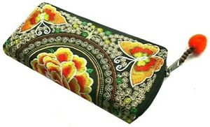Orange & black Fairtrade embroidered butterfly coin purse to fit cards & notes