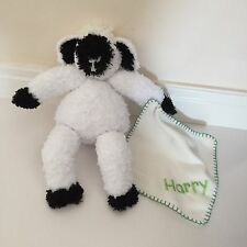 Personalised Soft Cuddly Lamb With Attached Fleece Blanket With Chosen Name
