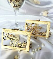 Personalised wooden wedding name place cards; anniversary; table decor