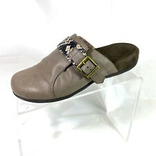 Vionic Colby Women's Mules Clogs Gray Taupe Snake Print Buckle Size 7