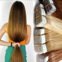 Full Head  20-60Pcs Tape in Remy Human Hair Extensions Virgin Ombre PU Skin Weft