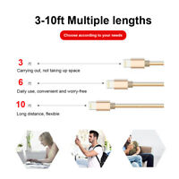 3, 6, 10ft Nylon Braided Lightning Cable USB Charge for Apple iPhone/iPad/Mini