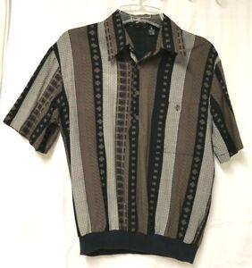 Vtg ALAN STUART Waistband Shirt Medium Black & Brown Short Sleeves Buttons