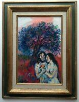 Oil Impressionist painting Adam and Eve Garden of Eden Walter SPITZER (b, 1927)