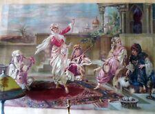 Antique Museum Original Canvas Oil Painting Moroccan Ladies on Balcony Algerian