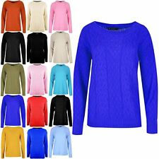 Womens Long Sleeves Cable Pullover Round Neck Knitted Oversized Baggy Top Jumper