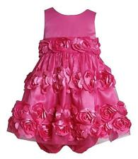 New Girls Bonnie Jean sz 24m Pink 3-D Flower Dress Clothes Birthday Easter $60