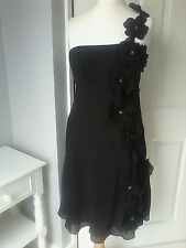 DEBUT by Debenhams UK 10 black dress applique 3D flower flippy party evening