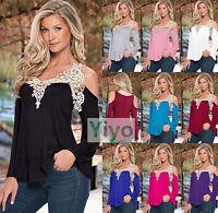 Sexy Women Casual Long Sleeve Off Shoulder Lace Crochet T Shirt Top Blouse S-5XL