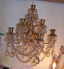 Pr Ca 1900 French Bronze 6 Light Candle Sconces w Crystal Drops & Swags