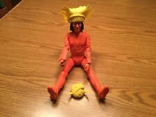 Vintage Louis Marx Geronimo Orange Action Figure W/ Yellow Accessories Rare