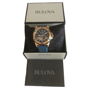 Bulova Men's Watch Automatic Marine Star Blue Dial Blue Silicone Strap 98A227