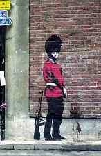 "Banksy- Palace Guard Peeing- 24""x36"" Canvas Art Print"