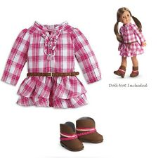 """American Girl TRULY ME WESTERN PLAID OUTFIT for 18"""" Doll Dress Shoes Plaid NEW"""