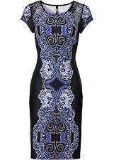 Stretchkleid 32 34 schwarz blau Schlauchkleid Druckkleid Spitze Kleid