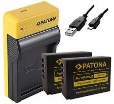 NP-W126 S USB Ladegerät + 2x NP-W126 Akku Patona 1020mAh für Fuji Film Kamera