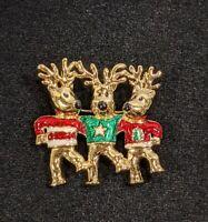 Gold Tone Red Green Enamel Christmas Tree Star Reindeer Pin brooch 14113